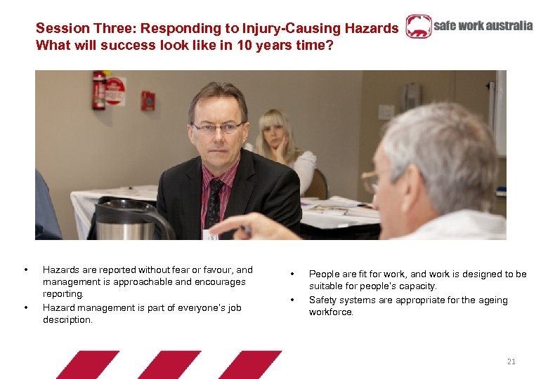 Session Three: Responding to Injury-Causing Hazards What will success look like in 10 years