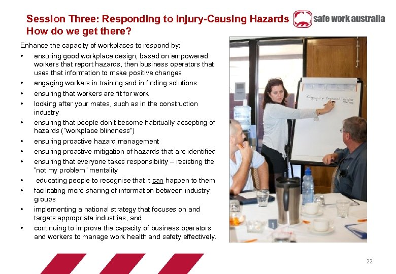 Session Three: Responding to Injury-Causing Hazards How do we get there? Enhance the capacity