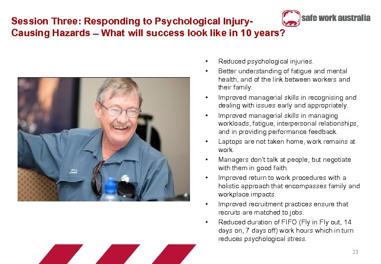 Session Three: Responding to Psychological Injury. Causing Hazards What will success look like in
