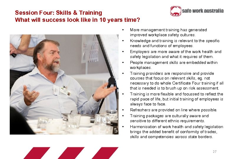 Session Four: Skills & Training What will success look like in 10 years time?