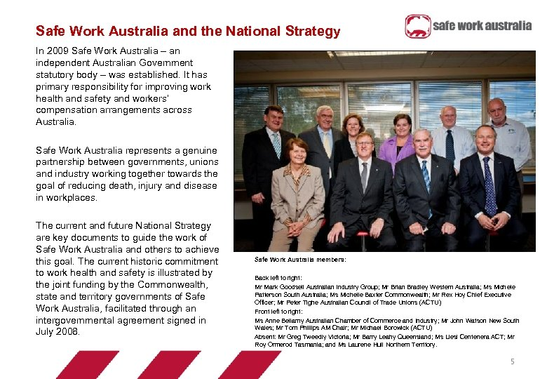 Safe Work Australia and the National Strategy In 2009 Safe Work Australia – an