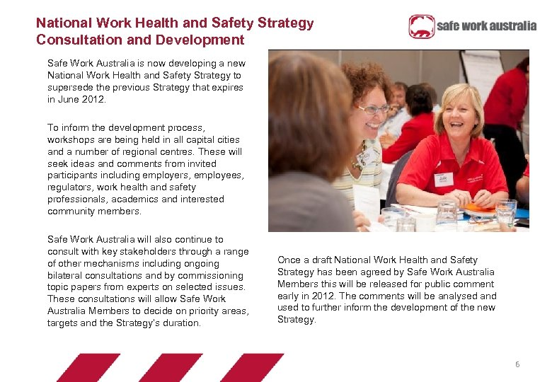 National Work Health and Safety Strategy Consultation and Development Safe Work Australia is now