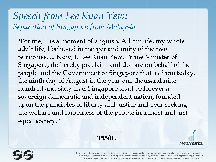 Speech from Lee Kuan Yew: Separation of Singapore from Malaysia