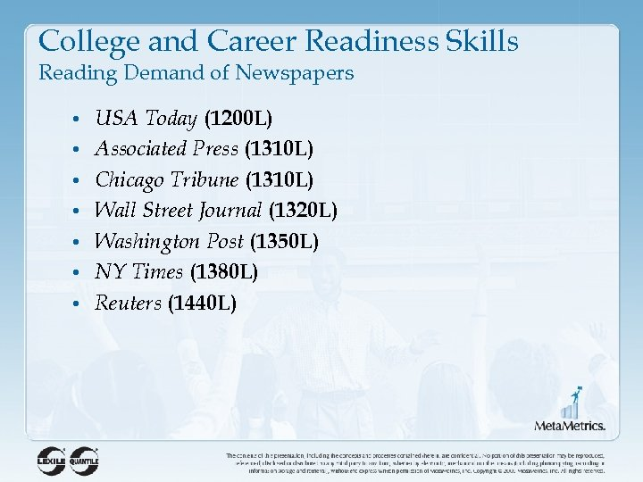 College and Career Readiness Skills Reading Demand of Newspapers • USA Today (1200 L)