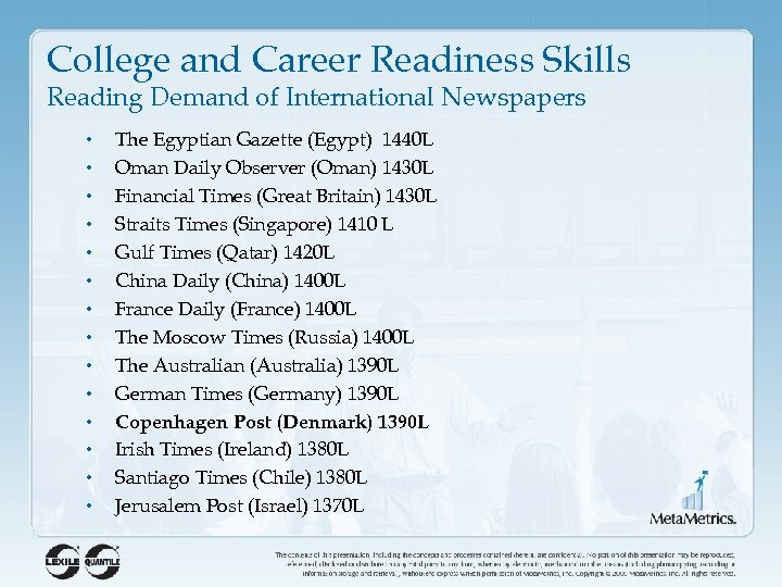 College and Career Readiness Skills Reading Demand of International Newspapers • • • •