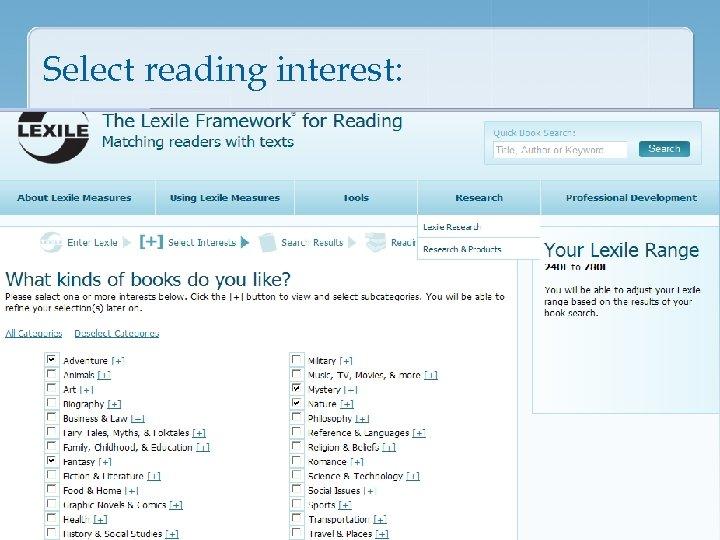 Select reading interest: