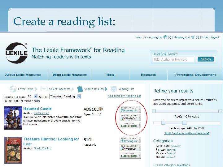 Create a reading list:
