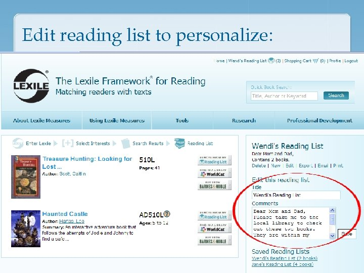 Edit reading list to personalize: