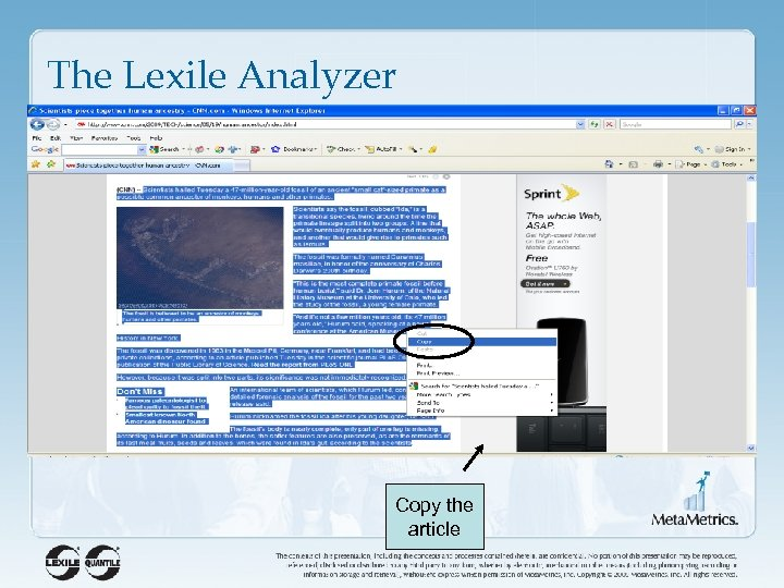 The Lexile Analyzer Copy the article
