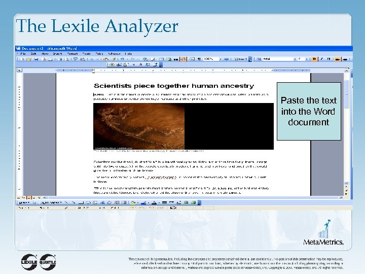 The Lexile Analyzer Paste the text into the Word document