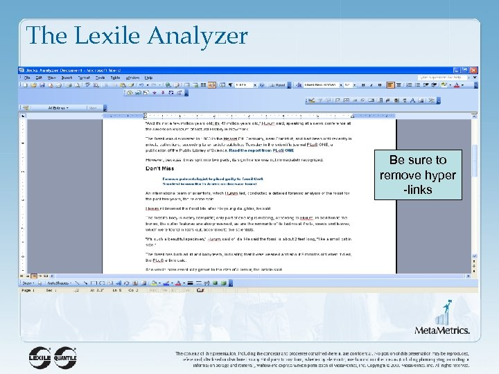 The Lexile Analyzer Be sure to remove hyper -links