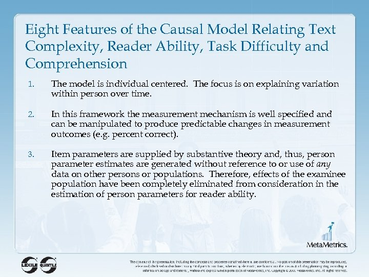 Eight Features of the Causal Model Relating Text Complexity, Reader Ability, Task Difficulty and