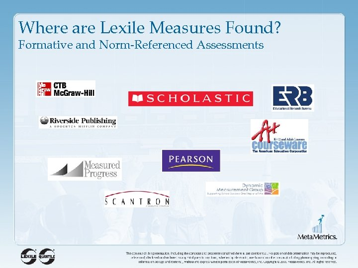 Where are Lexile Measures Found? Formative and Norm-Referenced Assessments