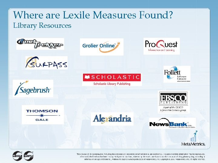 Where are Lexile Measures Found? Library Resources