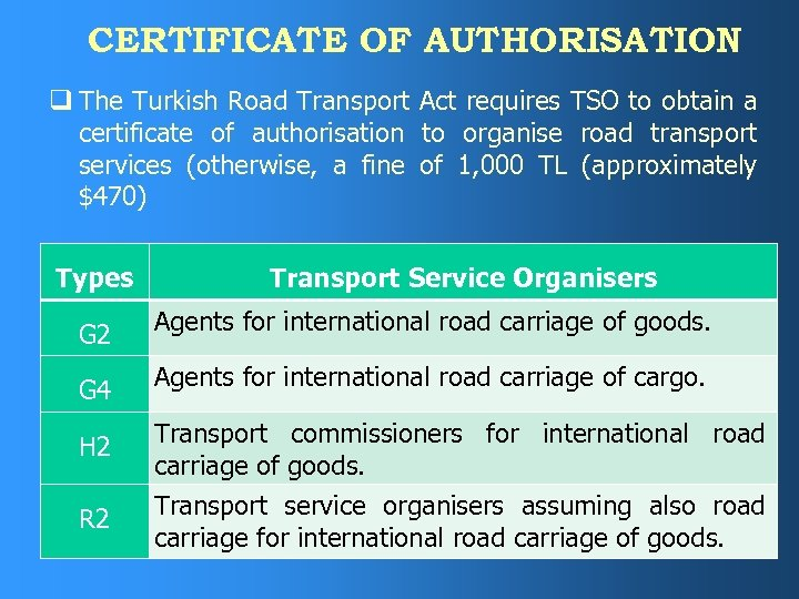 CERTIFICATE OF AUTHORISATION q The Turkish Road Transport Act requires TSO to obtain a
