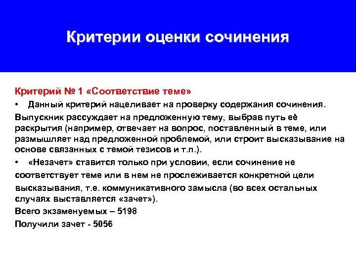 Критерии оценки сочинения Критерий № 1 «Соответствие теме» • Данный критерий нацеливает на проверку