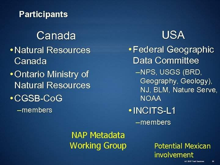 Participants Canada • Natural Resources Canada • Ontario Ministry of Natural Resources • CGSB-Co.