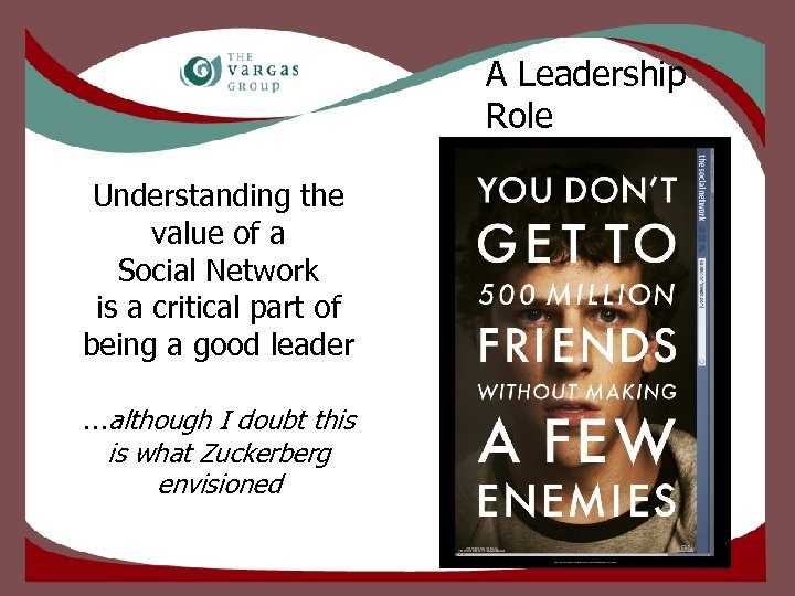 A Leadership Role Understanding the value of a Social Network is a critical part