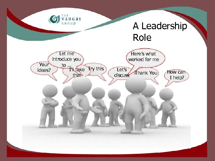 A Leadership Role Let me introduce you Your to … I'll take Try this