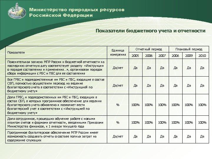 Министерство природных ресурсов Российской Федерации Показатели бюджетного учета и отчетности Отчетный период Плановый период