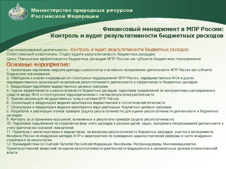 Министерство природных ресурсов Российской Федерации Финансовый менеджмент в МПР России: Контроль и аудит результативности
