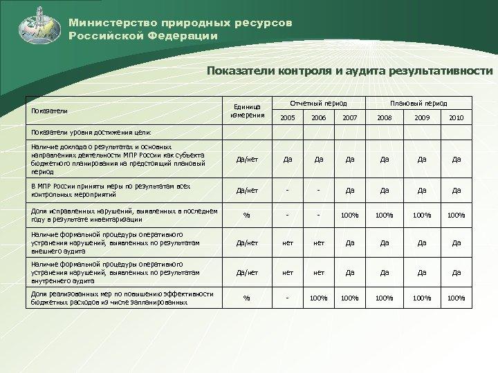 Министерство природных ресурсов Российской Федерации Показатели контроля и аудита результативности Отчетный период Плановый период