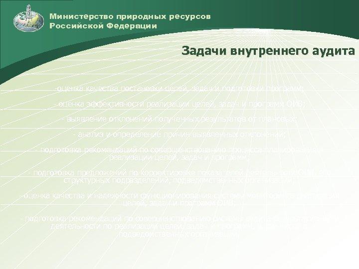 Министерство природных ресурсов Российской Федерации Задачи внутреннего аудита -оценка качества постановки целей, задач и