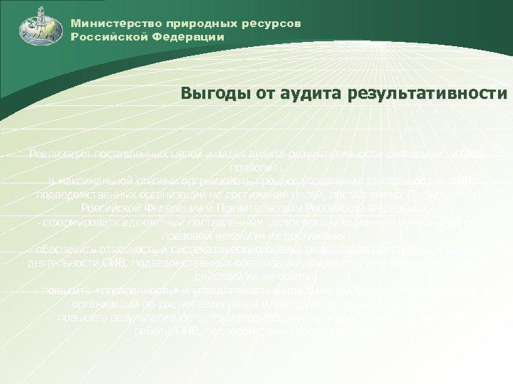 Министерство природных ресурсов Российской Федерации Выгоды от аудита результативности Реализация поставленных целей и задач