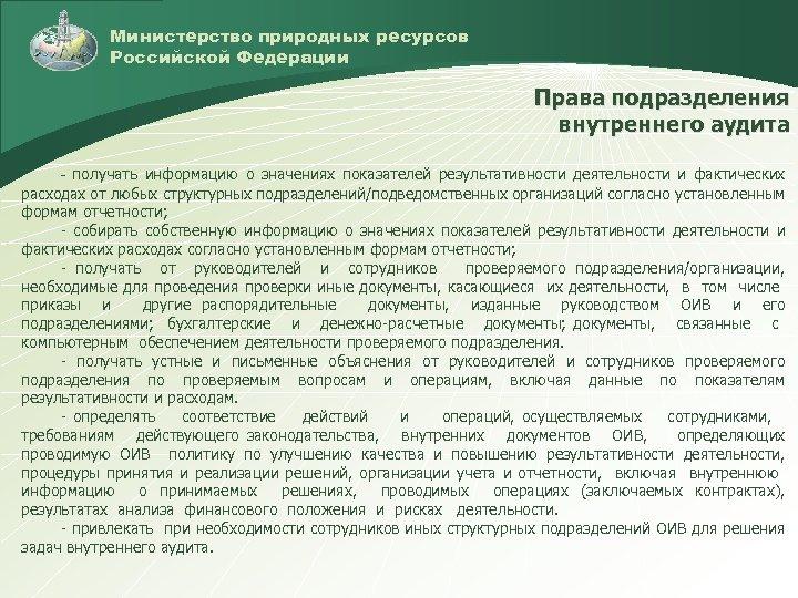 Министерство природных ресурсов Российской Федерации Права подразделения внутреннего аудита - получать информацию о значениях