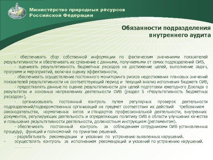 Министерство природных ресурсов Российской Федерации Обязанности подразделения внутреннего аудита - обеспечивать сбор собственной информации