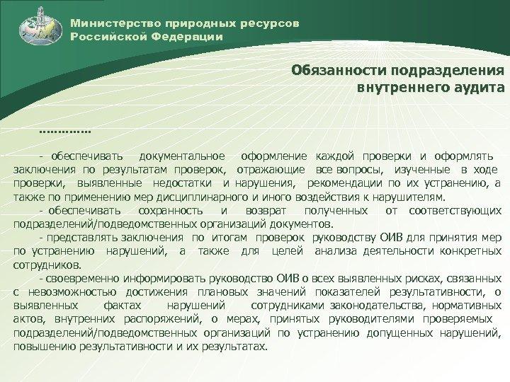 Министерство природных ресурсов Российской Федерации Обязанности подразделения внутреннего аудита …………. . - обеспечивать документальное