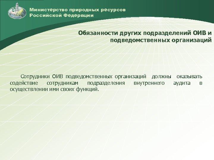 Министерство природных ресурсов Российской Федерации Обязанности других подразделений ОИВ и подведомственных организаций Сотрудники ОИВ