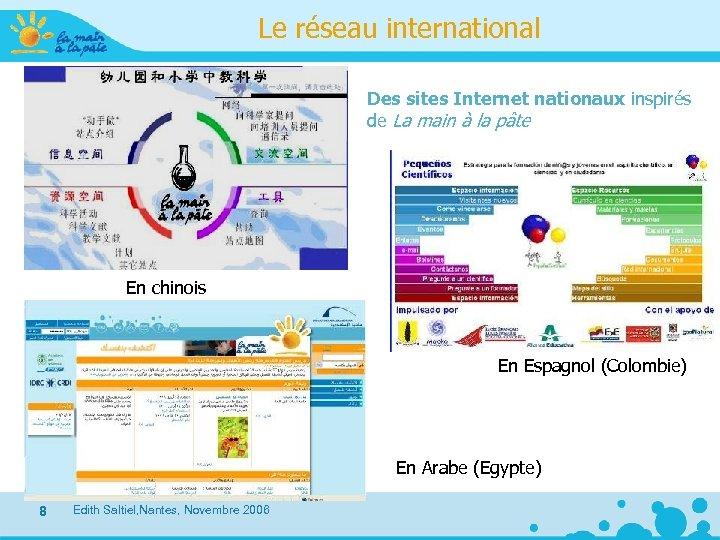 Le réseau international Des sites Internet nationaux inspirés de La main à la pâte
