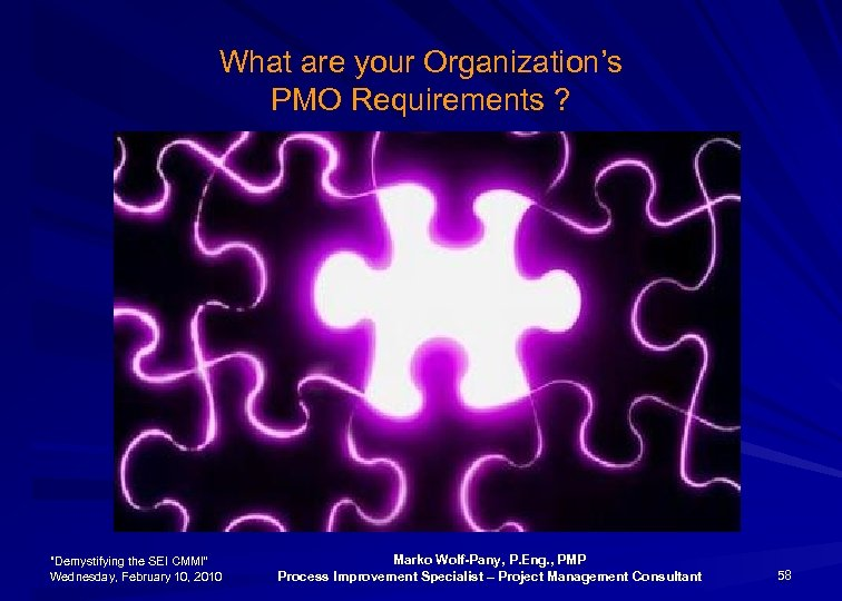 What are your Organization's PMO Requirements ?
