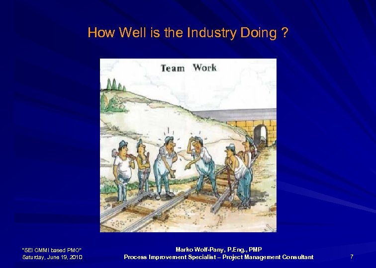 """How Well is the Industry Doing ? """"SEI CMMI based PMO"""" Saturday, June 19,"""