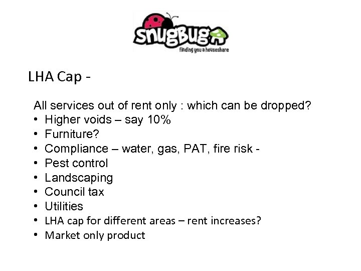 LHA Cap All services out of rent only : which can be dropped? •