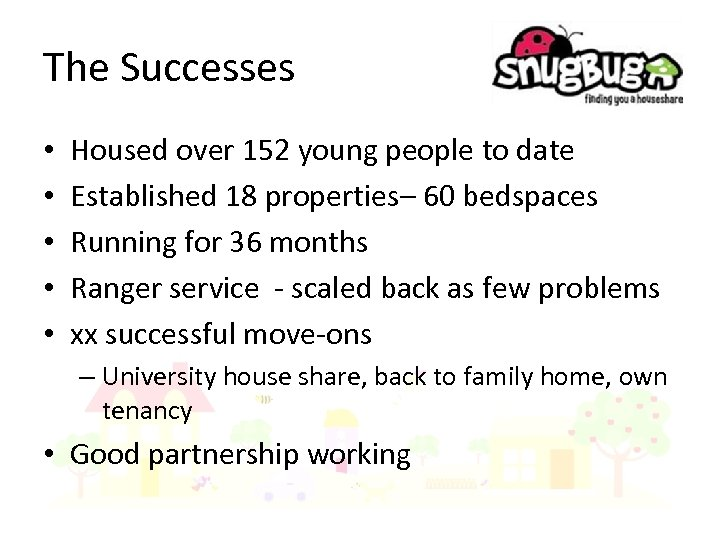 The Successes • • • Housed over 152 young people to date Established 18
