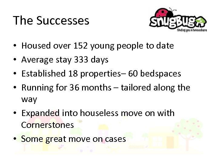 The Successes Housed over 152 young people to date Average stay 333 days Established