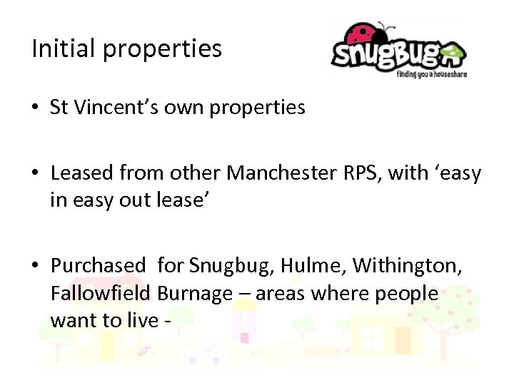 Initial properties • St Vincent's own properties • Leased from other Manchester RPS, with