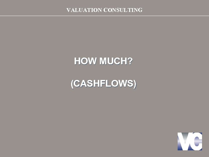 VALUATION CONSULTING HOW MUCH? (CASHFLOWS)