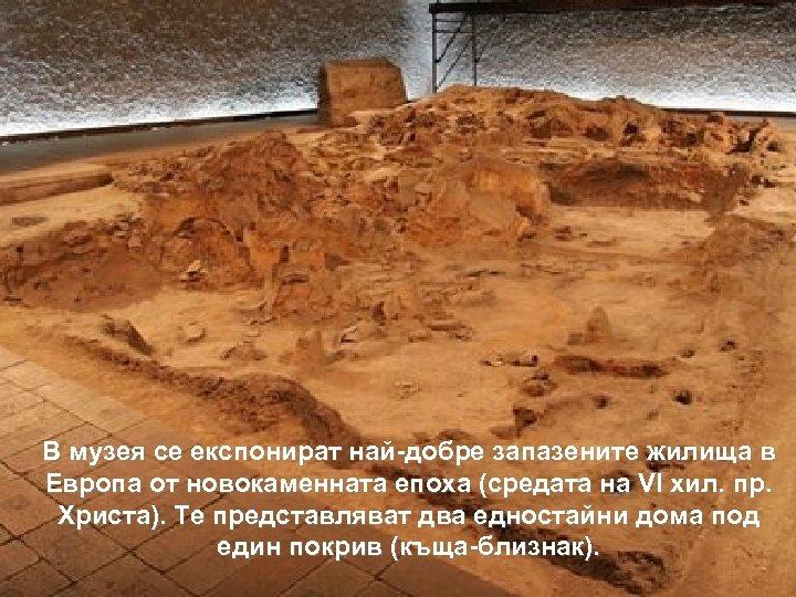 В музея се експонират най-добре запазените жилища в Европа от новокаменната епоха (средата на