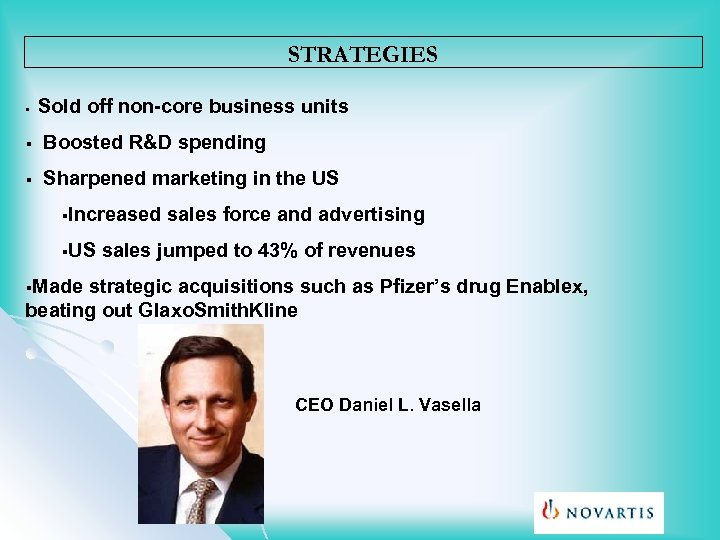 STRATEGIES § Sold off non-core business units § Boosted R&D spending § Sharpened marketing