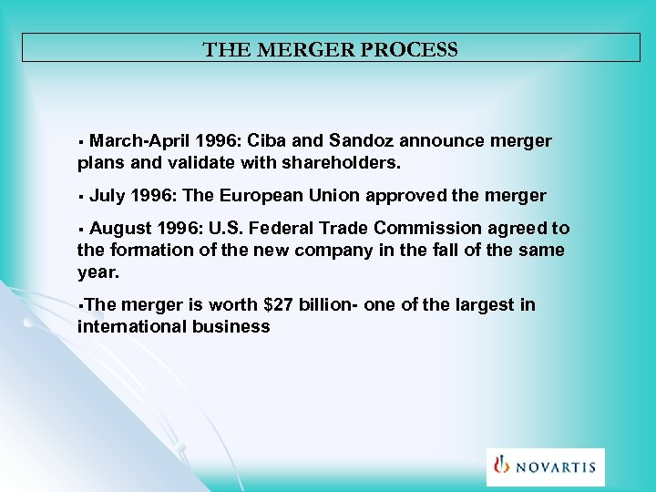 THE MERGER PROCESS March-April 1996: Ciba and Sandoz announce merger plans and validate with