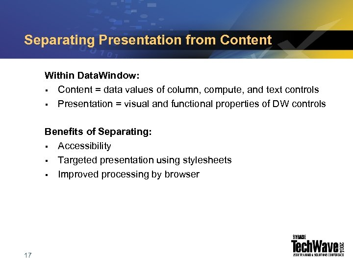 Separating Presentation from Content Within Data. Window: § Content = data values of column,