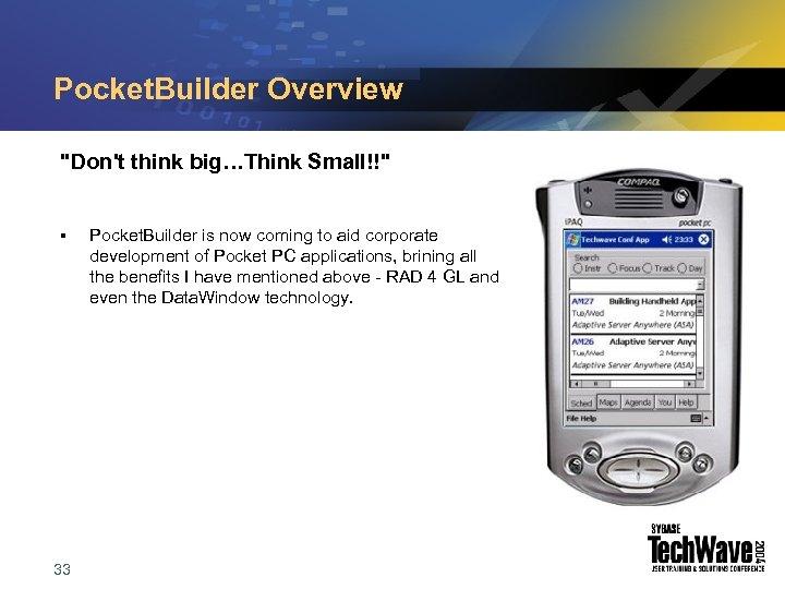 Pocket. Builder Overview