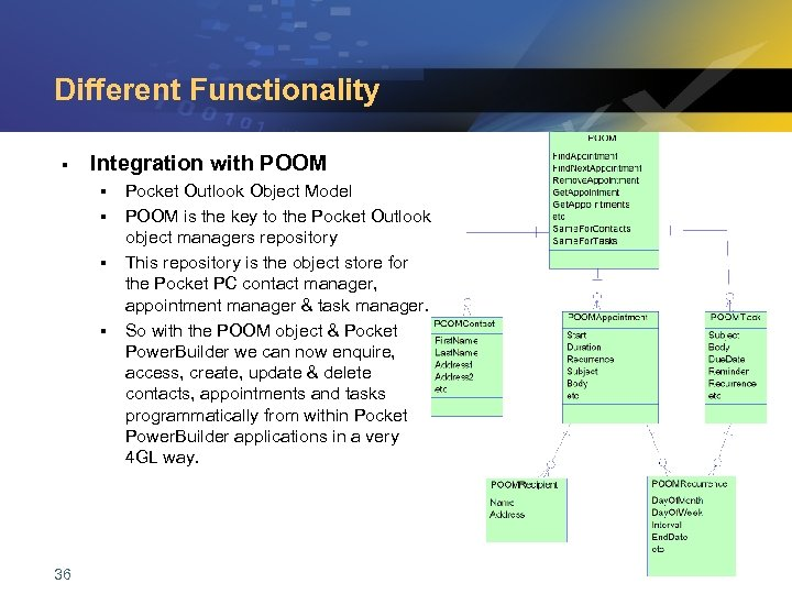 Different Functionality § Integration with POOM § § 36 Pocket Outlook Object Model POOM