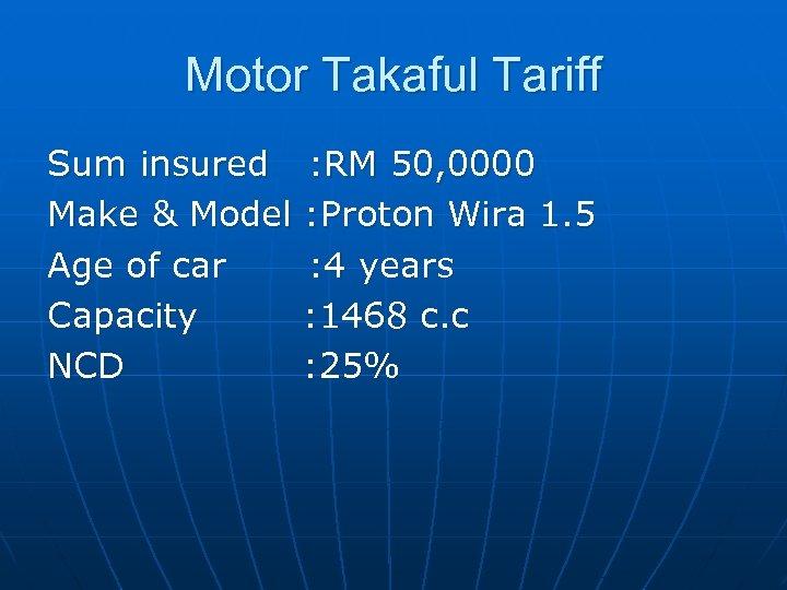 Motor Takaful Tariff Sum insured : RM 50, 0000 Make & Model : Proton