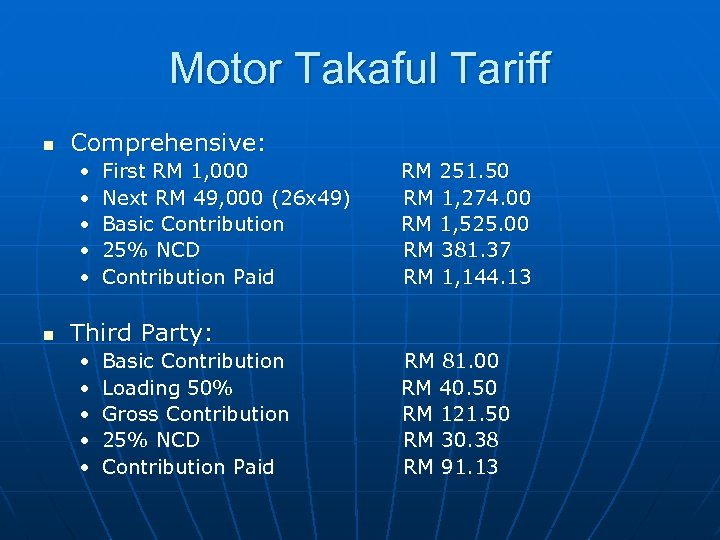 Motor Takaful Tariff n Comprehensive: • • • n First RM 1, 000 Next