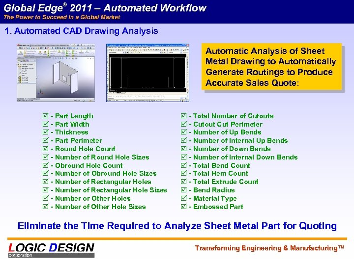 1. Automated CAD Drawing Analysis Automatic Analysis of Sheet Metal Drawing to Automatically Generate