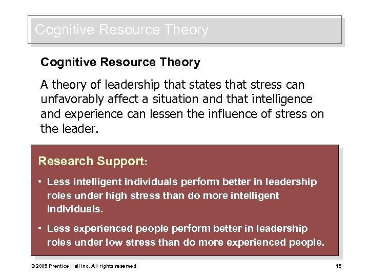 Cognitive Resource Theory A theory of leadership that states that stress can unfavorably affect
